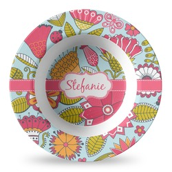 Wild Flowers Plastic Bowl - Microwave Safe - Composite Polymer (Personalized)