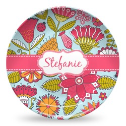 Wild Flowers Microwave Safe Plastic Plate - Composite Polymer (Personalized)