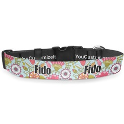 """Wild Flowers Deluxe Dog Collar - Extra Large (16"""" to 27"""") (Personalized)"""