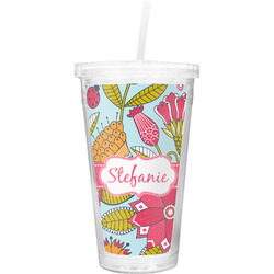 Wild Flowers Double Wall Tumbler with Straw (Personalized)