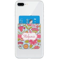 Wild Flowers Genuine Leather Adhesive Phone Wallet (Personalized)