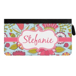 Wild Flowers Genuine Leather Ladies Zippered Wallet (Personalized)