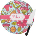 Wild Flowers Round Glass Cutting Board (Personalized)