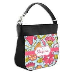Wild Flowers Hobo Purse w/ Genuine Leather Trim (Personalized)