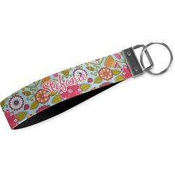 Wild Flowers Wristlet Webbing Keychain Fob (Personalized)
