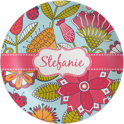 "Wild Flowers Melamine Plate - 8"" (Personalized)"