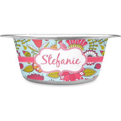 Wild Flowers Stainless Steel Dog Bowl (Personalized)