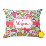 Wild Flowers Outdoor Throw Pillow (Rectangular) (Personalized)