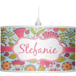 Wild Flowers Drum Pendant Lamp (Personalized)