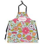 Wild Flowers Apron Without Pockets w/ Name or Text