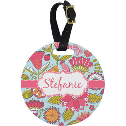 Wild Flowers Round Luggage Tag (Personalized)