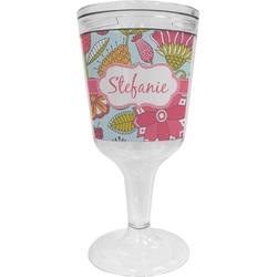 Wild Flowers Wine Tumbler - 11 oz Plastic (Personalized)