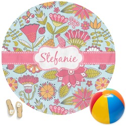 Wild Flowers Round Beach Towel (Personalized)