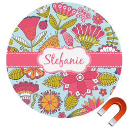 Wild Flowers Round Car Magnet (Personalized)
