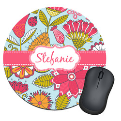 Wild Flowers Round Mouse Pad (Personalized)