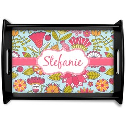 Wild Flowers Black Wooden Tray (Personalized)