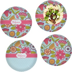 Wild Flowers Set of 4 Lunch / Dinner Plates (Glass) (Personalized)