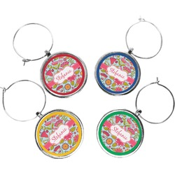 Wild Flowers Wine Charms (Set of 4) (Personalized)