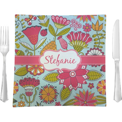 """Wild Flowers 9.5"""" Glass Square Lunch / Dinner Plate- Single or Set of 4 (Personalized)"""