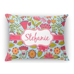 Wild Flowers Rectangular Throw Pillow (Personalized)