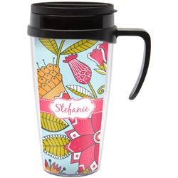 Wild Flowers Travel Mug with Handle (Personalized)