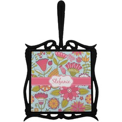 Wild Flowers Trivet with Handle (Personalized)