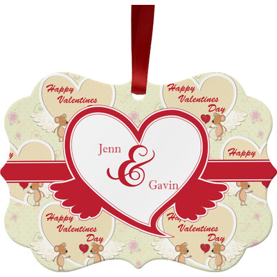 Mouse Love Metal Frame Ornament - Double Sided w/ Couple's Names