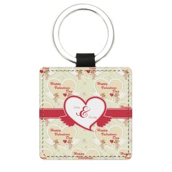 Mouse Love Genuine Leather Rectangular Keychain (Personalized)