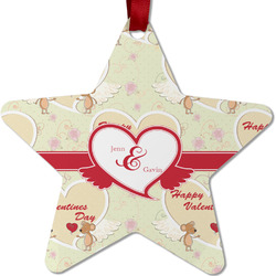 Mouse Love Metal Star Ornament - Double Sided w/ Couple's Names