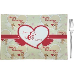 Mouse Love Rectangular Glass Appetizer / Dessert Plate - Single or Set (Personalized)