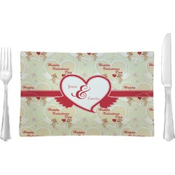 Mouse Love Rectangular Glass Lunch / Dinner Plate - Single or Set (Personalized)