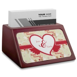 Mouse Love Red Mahogany Business Card Holder (Personalized)