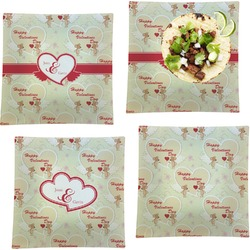 """Mouse Love Set of 4 Glass Square Lunch / Dinner Plate 9.5"""" (Personalized)"""