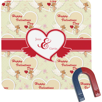 Mouse Love Square Fridge Magnet (Personalized)