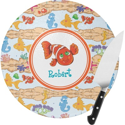 Under the Sea Round Glass Cutting Board - Small (Personalized)