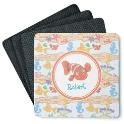 Under the Sea 4 Square Coasters - Rubber Backed (Personalized)