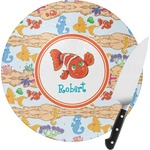 Under the Sea Round Glass Cutting Board (Personalized)