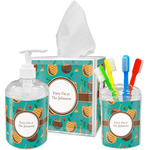 Coconut Drinks Acrylic Bathroom Accessories Set w/ Name or Text