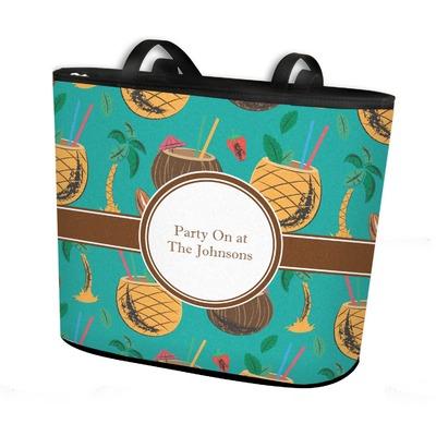 Coconut Drinks Bucket Tote w/ Genuine Leather Trim (Personalized)