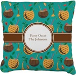 Coconut Drinks Faux-Linen Throw Pillow (Personalized)