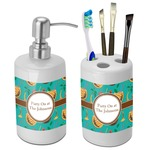 Coconut Drinks Bathroom Accessories Set (Ceramic) (Personalized)