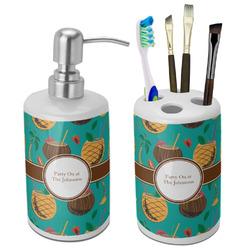 Coconut Drinks Ceramic Bathroom Accessories Set (Personalized)