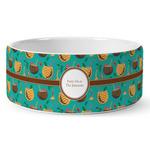 Coconut Drinks Ceramic Dog Bowl (Personalized)