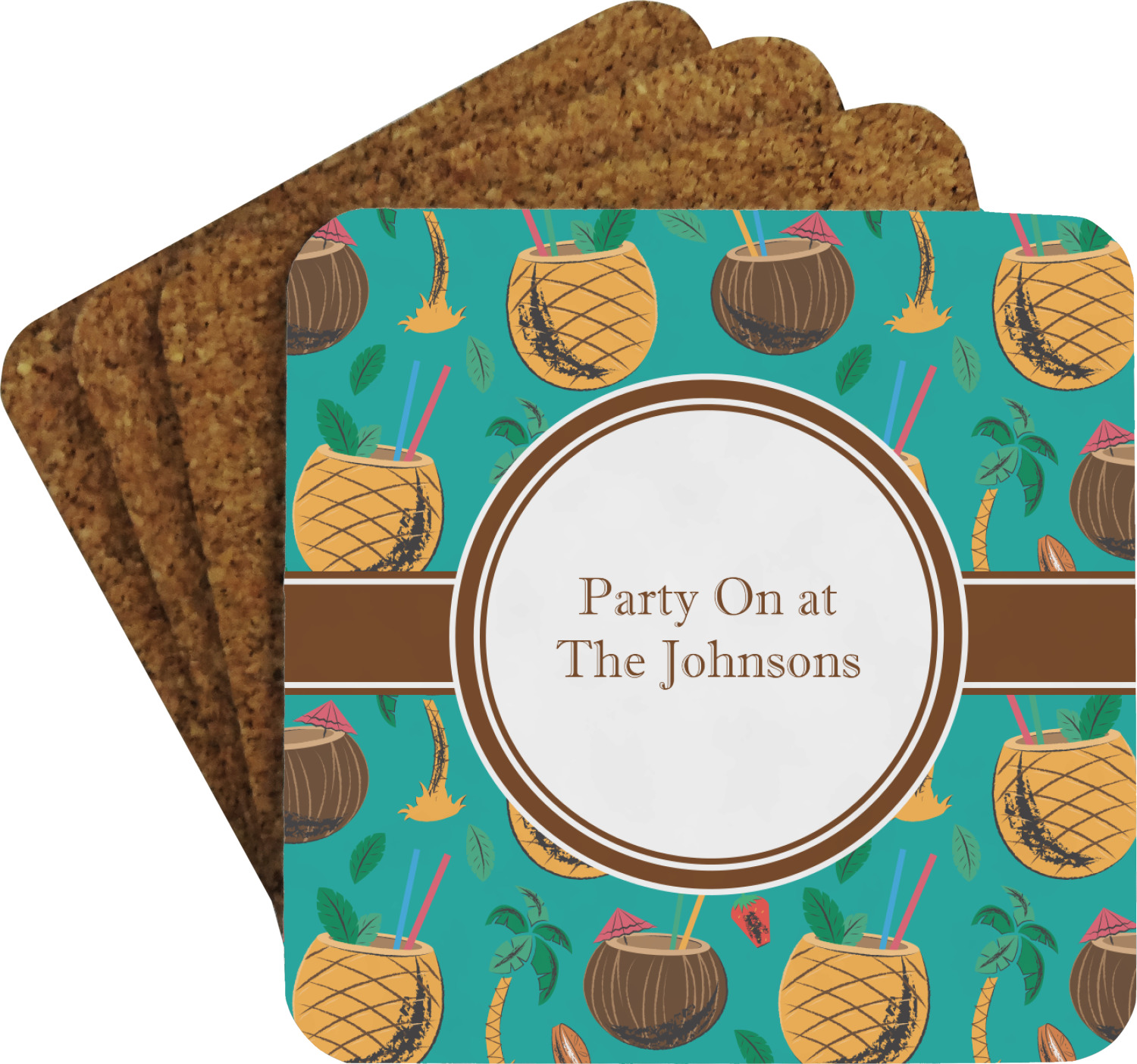 Coconut Drinks Coaster Set Personalized Youcustomizeit