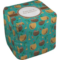Coconut Drinks Cube Pouf Ottoman (Personalized)