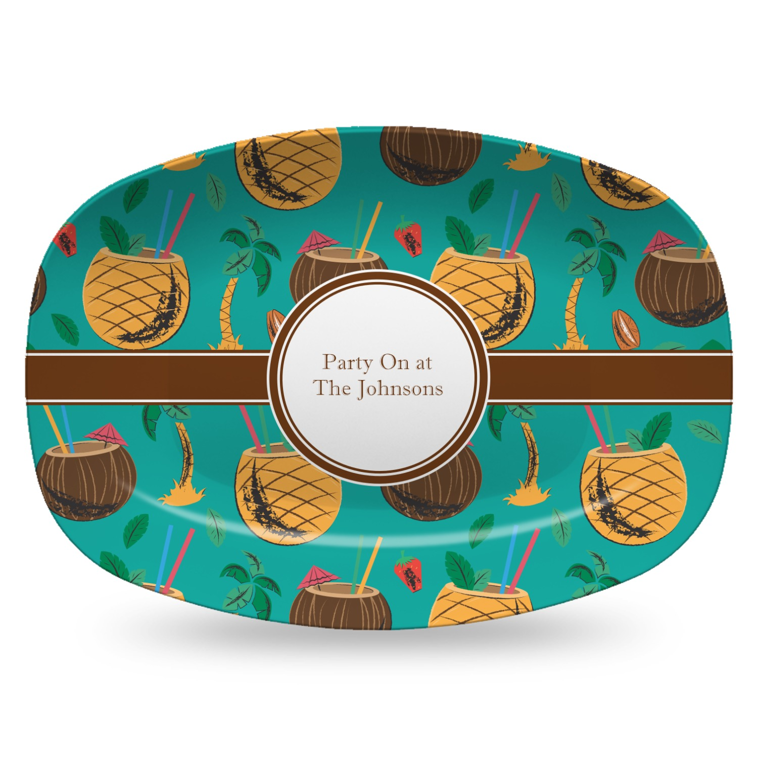 Coconut Drinks Plastic Platter - Microwave & Oven Safe Composite Polymer  (Personalized)
