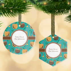 Coconut Drinks Flat Glass Ornament w/ Name or Text