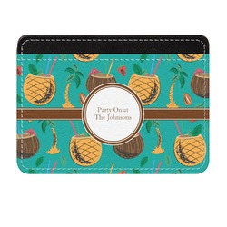 Coconut Drinks Genuine Leather Front Pocket Wallet (Personalized)