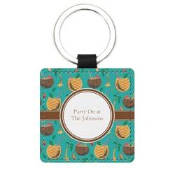 Coconut Drinks Genuine Leather Rectangular Keychain (Personalized)