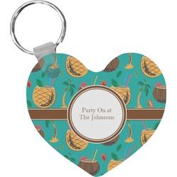 Coconut Drinks Heart Keychain (Personalized)